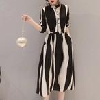 【dress】デートワンピース女子ファッションストライプ柄着瘦せAライン