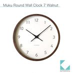 KATOMOKU muku round wall clock 7 km-93RC 電波時計