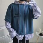 重ね着風パーカージャケット 韓国風 秋服
