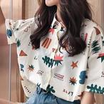 【tops】プリントスウィートPOLOネックシングルブレストシャツ26681768