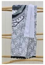 ◆Mon ange Louise◆ Beach towel BUTTERFLY(black/grey)ポンポン付き大判ビーチタオル