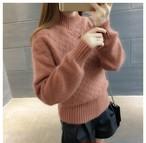 裾と袖が長めで暖かそう☆ハーフハイネック厚手セーター