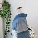 【T様ご予約品】正絹紬 鰹縞の小紋 単衣