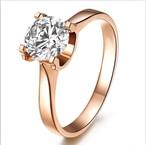 モアサナイト 1カラット 18k ピンクゴールド リング 婚約指輪
