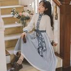 チャイナ風ワンピース チャイナ風服 改良漢服 刺繍入り 民国風 長袖 ロング丈 着痩せ 配色