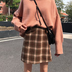 ハイウエスト チェック柄 スカート【0992】