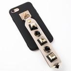 【即納★送料無料】ブラックソフトケース おしゃれなスタッズ ストラップ  iPhoneケース
