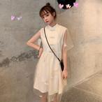 【dress】レトロスタンドネック切り替えデートワンピース21352157