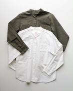 【atelier naruse】コットンフラックスバンドカラーシャツ 2color  アトリエナルセ