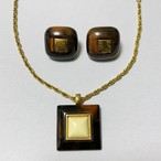 Vintage Trifari Marble Lucite Earrings & Pendant Necklace