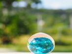 沖縄の思い出ペーパーウェイト(ターコイズ) 琉球ガラス工房 雫