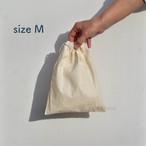 【 size M, Natural Organic Cotton Drawstring Bag 】ナチュラル オーガニック コットン の シンプルな 巾着袋 【 M サイズ 】 きんちゃく 巾着 綿 エコバッグ 無地 生成り コップ入れ