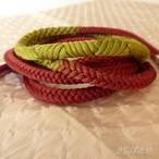 正絹 蘇芳とグリーンの丸組の帯締め