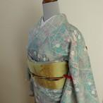正絹 翡翠色に白花の小紋 袷の着物