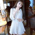 【dress】気質あふれ着痩せAラインバットスリーブ爽やかな好印象ワンピース