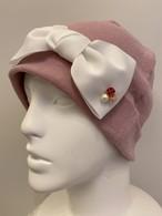 Lサイズ バラモチーフ付き大きめリボンのケア帽子 ピンク