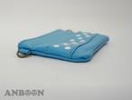 ネックストラップ付 miniペタンコレザーポーチ(ドット)(水色)