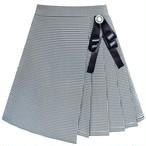 《school collection》 Skirt Pleated Plaid Skirt Black White (送料無料)