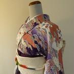 正絹綸子 白と紫に吉祥文様の小紋 袷の着物