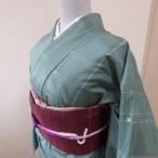 正絹紬 錆青磁色に格子柄 袷の着物