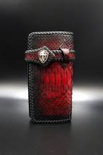 Item No.0290:Draw the wild Wallet/Diamond python Hand dye / L-fin