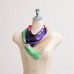 Organic Cotton 'Gossip' Purple リング付きミニスカーフ