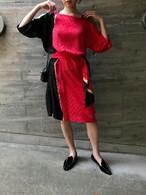 80s black × red × gold silk dress ( ヴィンテージ  ブラック レッド ゴールド シルク ドレス )
