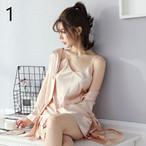 【ルームウェア・パジャマ】シンプルAラインスカート+Vネックカーディガン2点セットアップ23311454