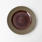 【SL-0050】磁器 23cm プレート 赤茶×茶