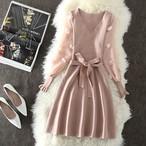 【dress】ニットワンピース肌触りよくレース付きリボン飾りワンピース
