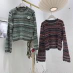 ミックスカラーニット ニット セーター 韓国ファッション