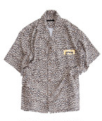 POLYPLUS apparel Open collar shirt with leopard print ベージュ