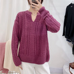 【tops】ベアトップニットvネックゆるっと感じセーター