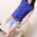 【tops】大人しいシフォン生地スタイリッシュ4色シャツ