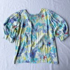 Made in France puff sleeves blue flower blouse
