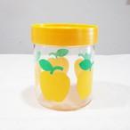 【スイス】 プラスチック キャニスター りんご柄 イエロー アンティーク
