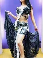 エジプト製ベリーダンス衣装 白と黒 ゼブラ柄