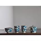 【 九谷宝瓶急須&茶杯 - sansui -  】陶器 / 煎茶器 / 玉露 / うつわ / 湯呑み / 茶碗 / 湯冷まし / tea / teapot / antique / vintage / japan