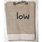手刺繍メッセージ ジュートの深形バスケット(Slow)