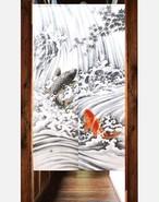 0050206のれん 85X150cm「鯉の滝登り(レース)」【日本製】コスモ 目隠し