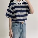 【送料無料】メンズライクコーデに♡ ボーダー オーバーサイズ Tシャツ ポロシャツ
