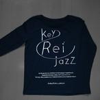 key Rei jazz T-shirts 長袖 黒×シルバー箔