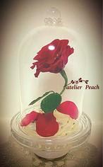 美女と野獣オルゴール付き「魔法の赤いバラ」ガラスドーム