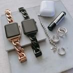 Apple Watch (アップルウォッチ) チェーンバンド/ベルト ブラック・ピンクゴールド ★送料無料★