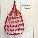 持ち手付き巾着袋 ピンクいちご柄×赤白ストライプ