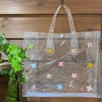 【オンライン限定価格¥2,970→¥2,200】No389クリアビニールバッグ横型(花色パステル)