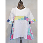 【 RehersalL 】side flare frill Tshirt(White2) /【リハーズオール】サイドフレアフリルTシャツ(ホワイト2)
