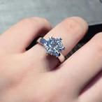 モアサナイト  3カラット 18k プラチナ リング 結婚指輪