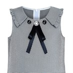 《school collection》 Dress Pleated White Black Plaid Collar (送料無料)