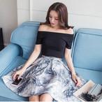 【set】2点セットボートネックTシャツ+プリントスカート